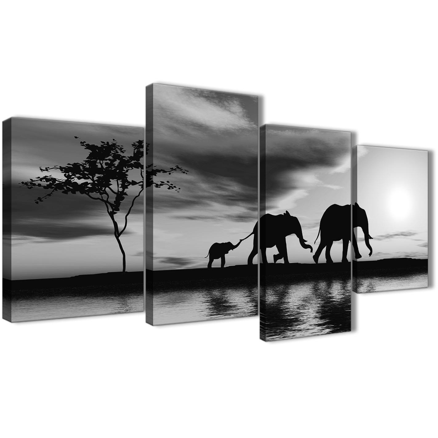 Large Black White African Sunset Elephants Canvas Wall Art Print For Newest Black And White Large Canvas Wall Art (Gallery 1 of 20)