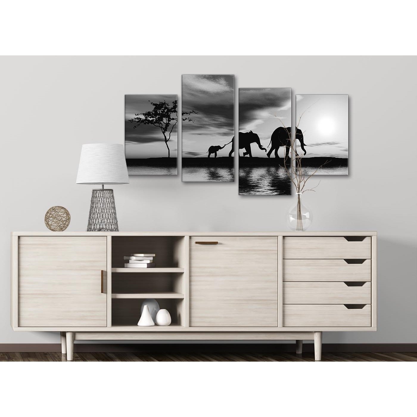 Large Black White African Sunset Elephants Canvas Wall Art Print Intended For Current Black Wall Art (View 13 of 20)