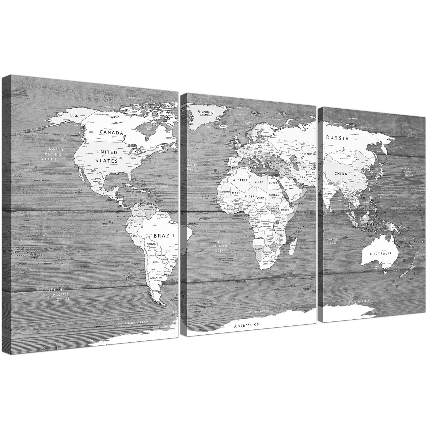 Large Black White Map Of World Atlas – Canvas Wall Art Print – Split For Most Up To Date White Wall Art (Gallery 1 of 20)