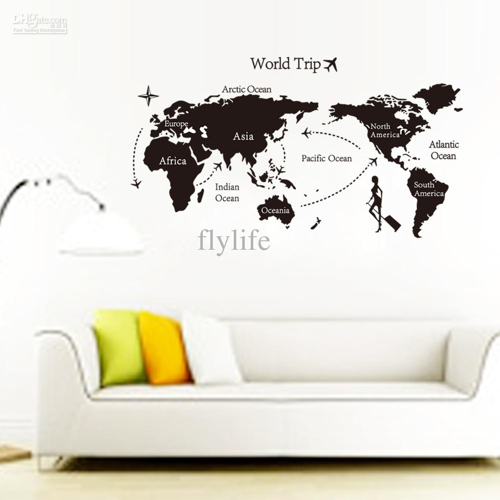 Large Black World Map Wall Decals And Decor Stickers For Living Room For Most Up To Date Wall Art Stickers World Map (View 7 of 20)