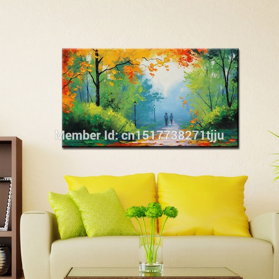 Large Canvas Art Cheap Modern Handmade Green Spring Scenery Oil in Most Recently Released Cheap Large Canvas Wall Art