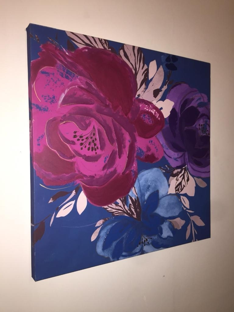 Large Canvas Painting – Flowers Roses  Blue Wall Art  Deep Canvas With Regard To Recent Large Canvas Painting Wall Art (Gallery 19 of 20)