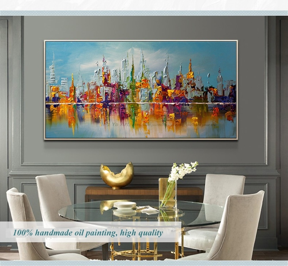 Large Canvas Wall Art Abstract Modern Decorative Pictures New York For 2018 Cheap Large Canvas Wall Art (View 14 of 20)