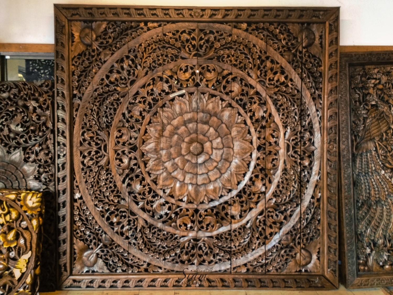 Large Carved Wood Panel Teak Wall Hanging Siamsawadee - Tierra Este throughout Newest Wood Carved Wall Art