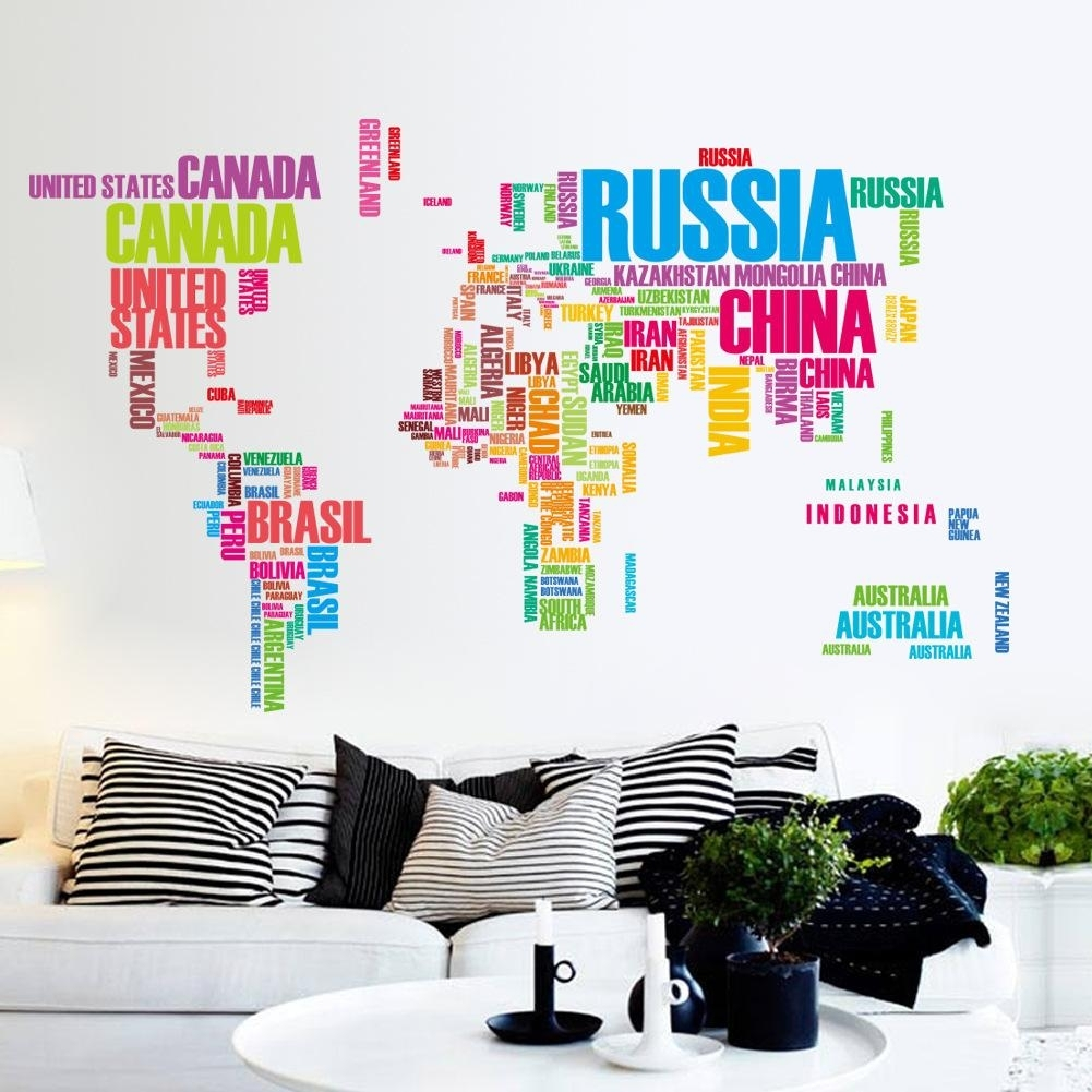 Large Colorful World Map Removable Vinyl Wall Decal Art Mural Home Intended For Most Up To Date Wall Art Stickers World Map (Gallery 13 of 20)