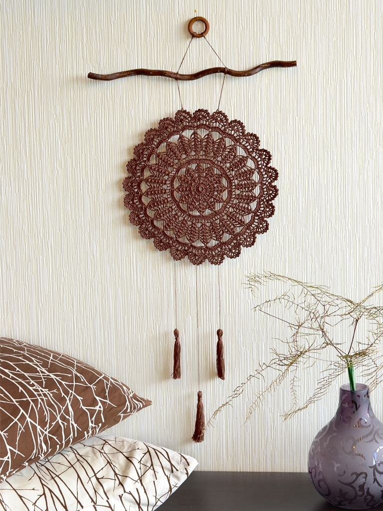 Large Crochet Dream Catcher Crochet Wall Decor Brown Crochet Dream For 2018 Crochet Wall Art (Gallery 3 of 20)