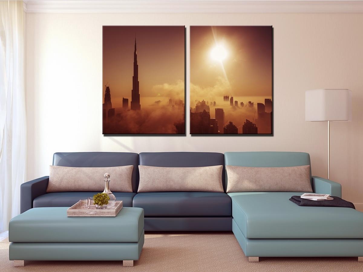 Large Dubai Burj Khalifa Canvas Print, Dubai Skyline Set Of 3 Panel In Most Current Panel Wall Art (Gallery 20 of 20)