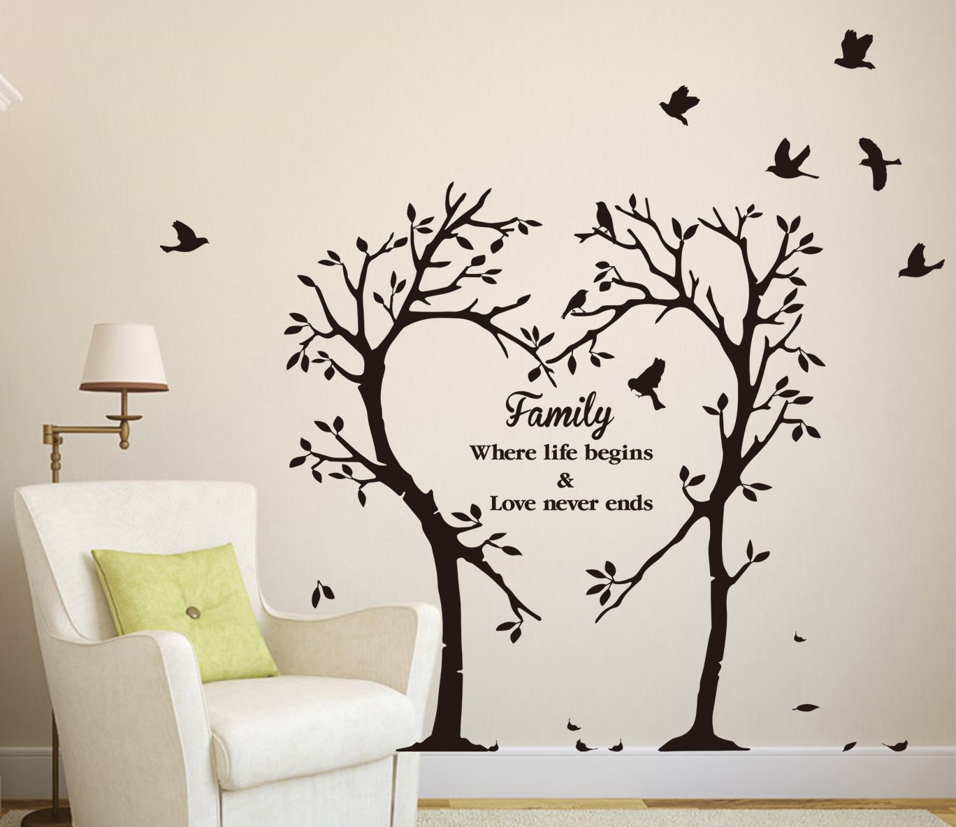 Large Family Inspirational Love Tree Wall Art Sticker, Wall Sticker intended for Most Recent Wall Tree Art