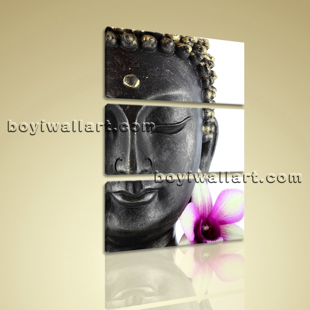 Large Feng Shui Buddha Canvas Contemporary Wall Art Print Vertical Regarding 2018 Vertical Wall Art (Gallery 10 of 20)
