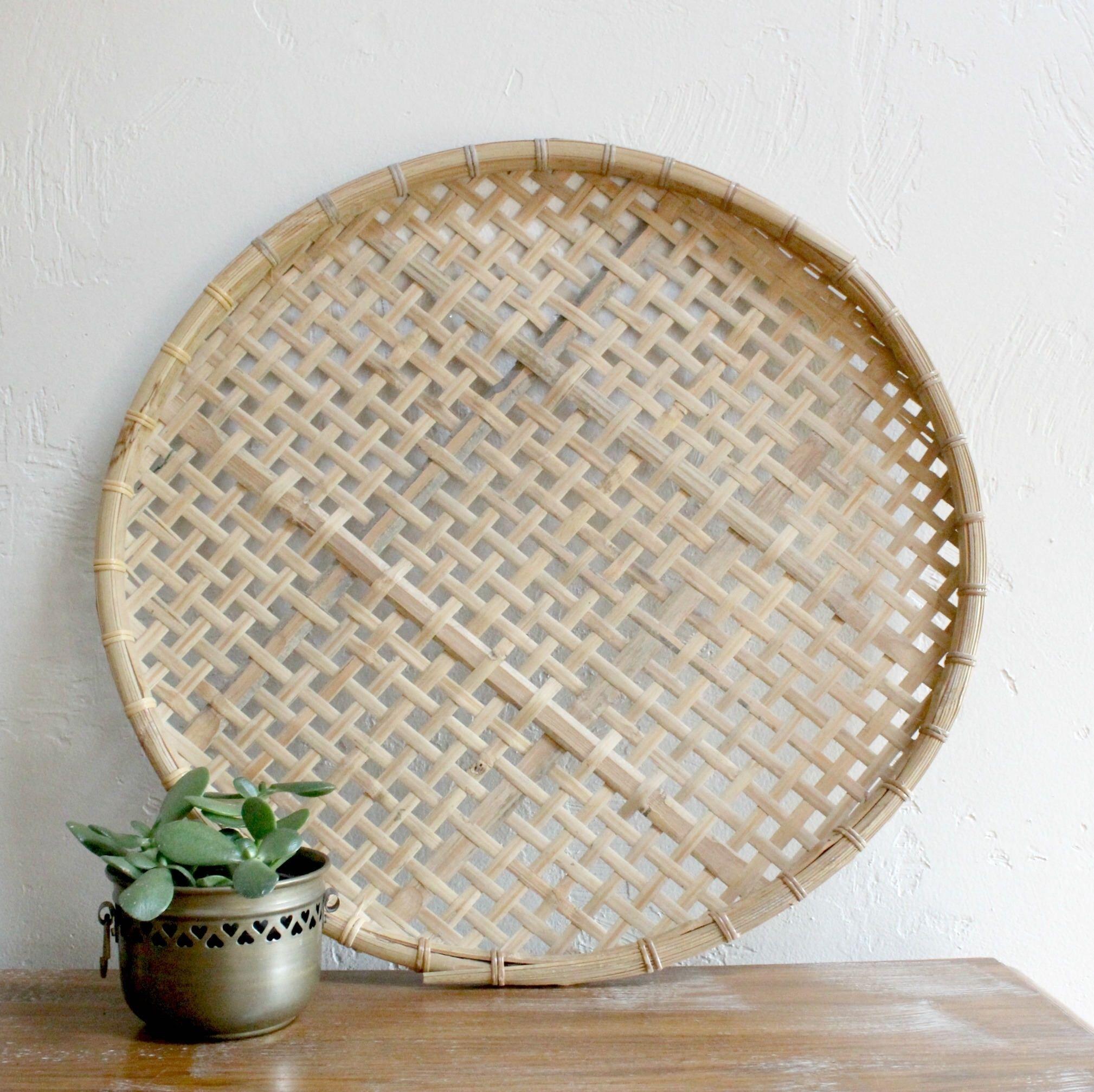 Large Flat Woven Wall Basket Bamboo Basket Large Basket Tray Wall With 2018 Woven Basket Wall Art (View 11 of 20)