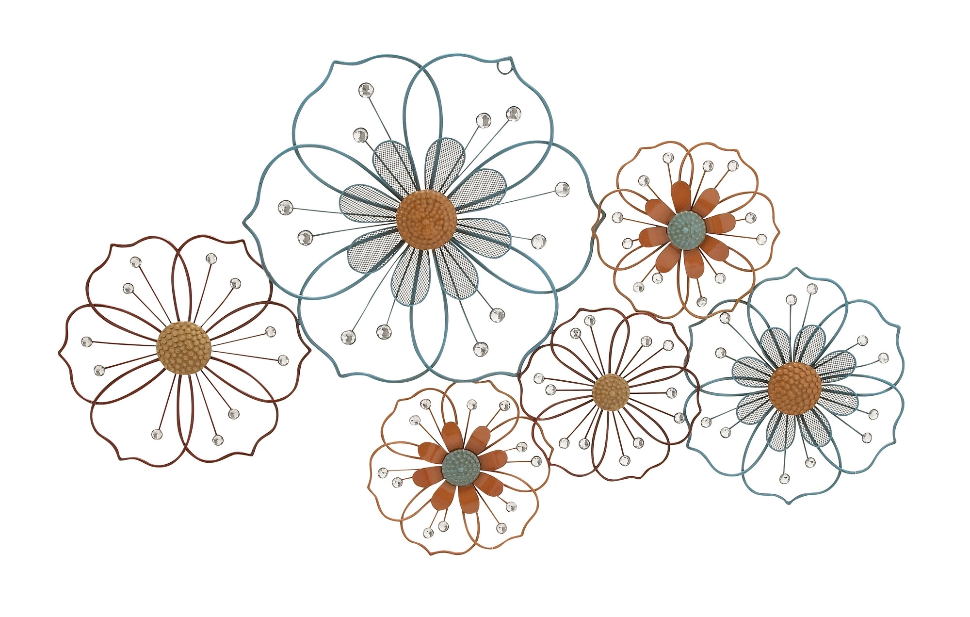 Large Flower Silhouettes - Floral Metal Wall Art with regard to Current Metal Flowers Wall Art