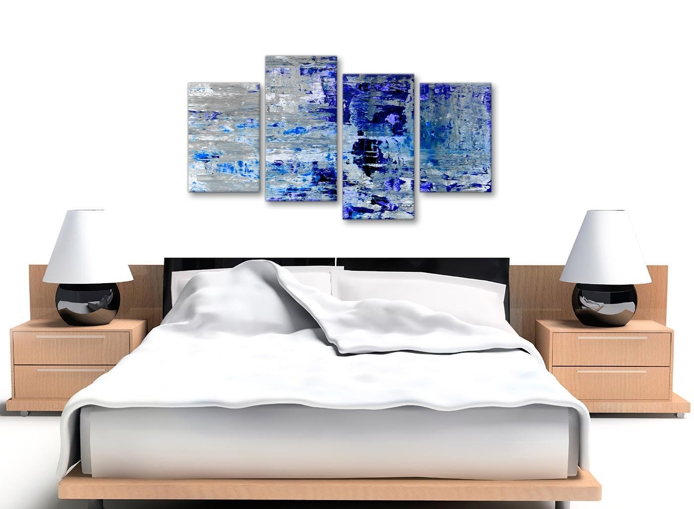 Large Indigo Blue Grey Abstract Painting Wall Art Print Canvas In Newest Cheap Large Canvas Wall Art (View 20 of 20)