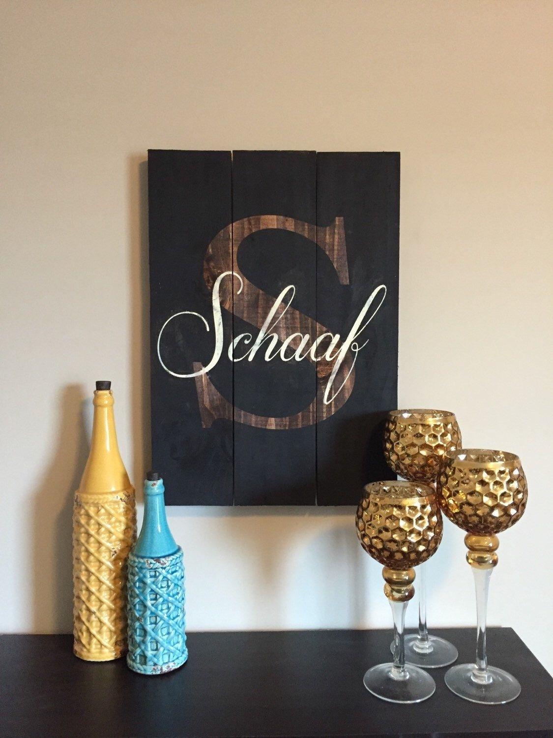 Large Inverted Personalized Last Name Sign // Reclaimed Wood Wall With Regard To Best And Newest Personalized Wood Wall Art (Gallery 13 of 20)