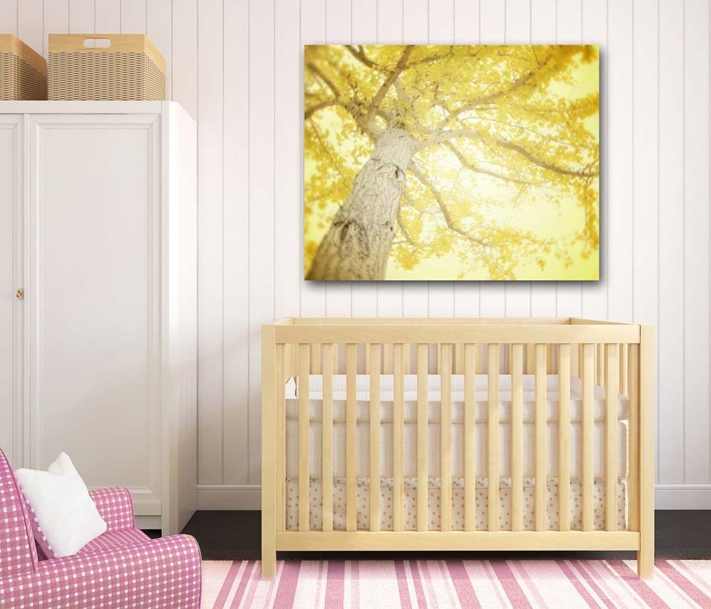 Large Lemon Yellow Gingko Tree Wall Art On Canvas | Inner Circle Direct with regard to Most Current Lemon Wall Art