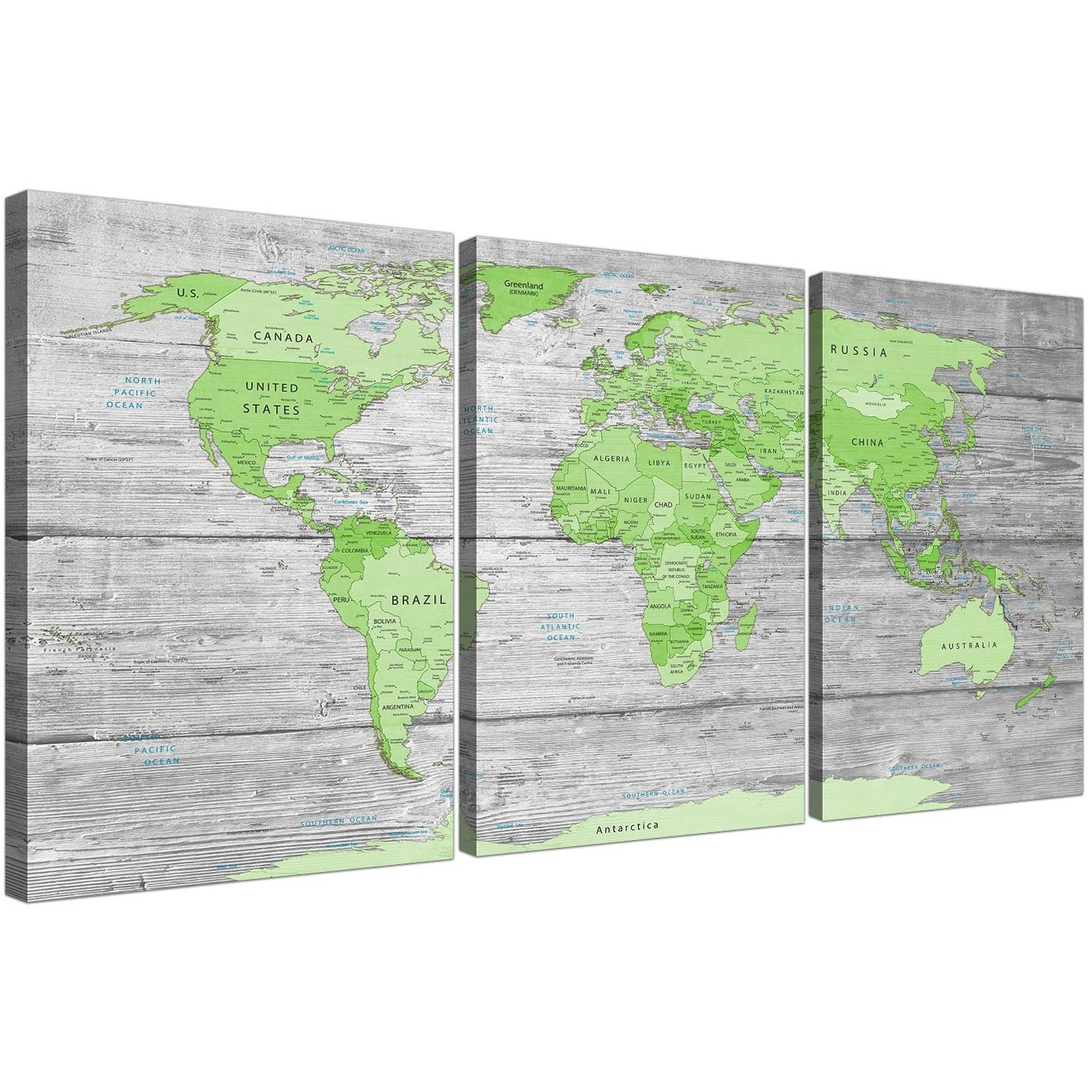 Large Lime Green Grey World Map Atlas Canvas Wall Art Print – Multi In Best And Newest Green Wall Art (View 13 of 20)