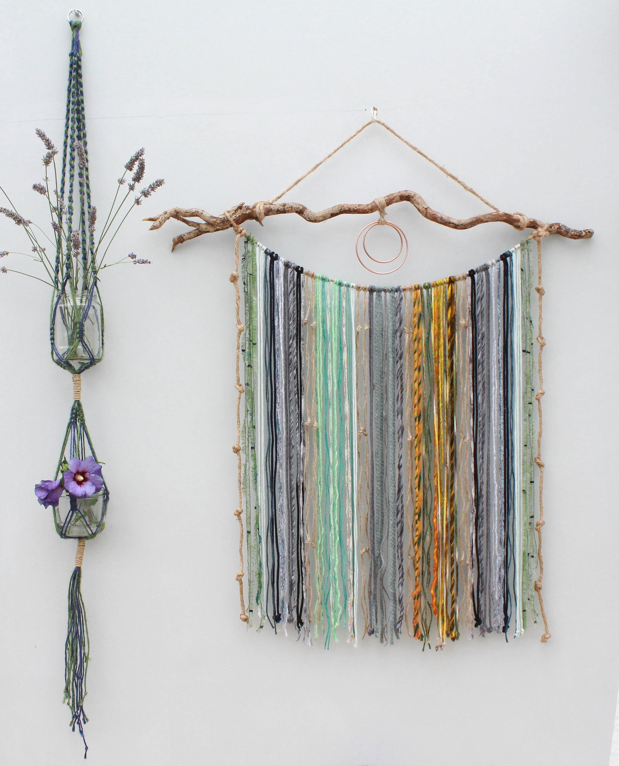 Large Macrame Yarn Wall Hanging On Driftwood/ Mixed Media Hanging In 2017 Yarn Wall Art (View 14 of 20)