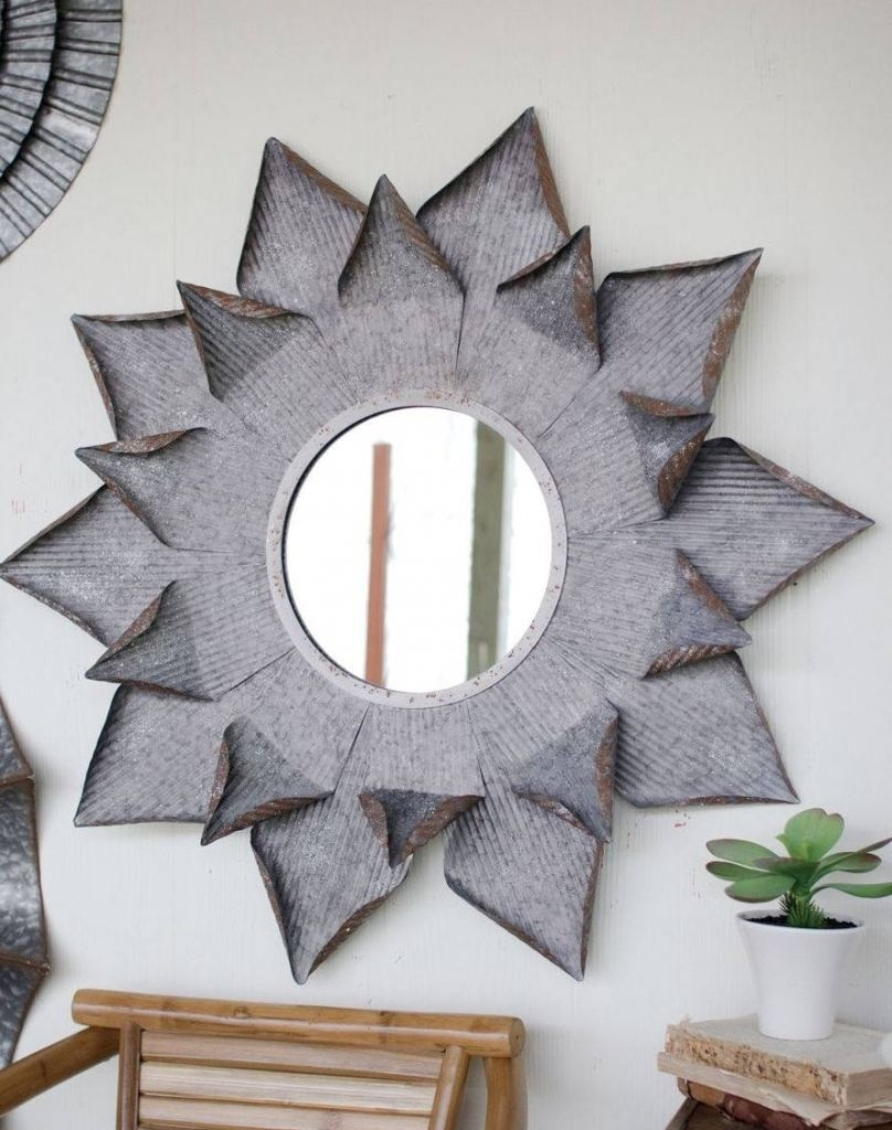 Large Metal Flower Mirror Wall Art - Trendy Essential Decor | Home intended for Most Popular Mirror Wall Art