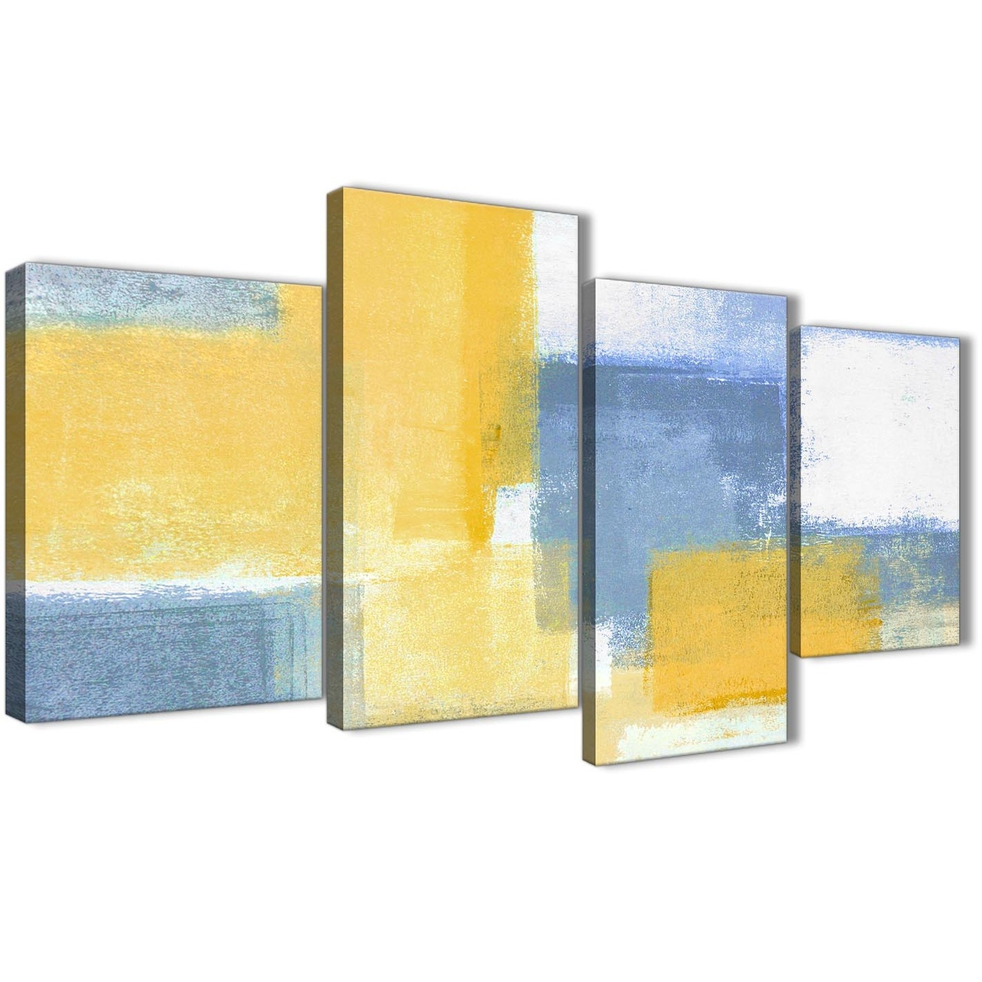 Large Mustard Yellow Blue Abstract Living Room Canvas Pictures Decor Intended For Newest Yellow Wall Art (View 10 of 20)