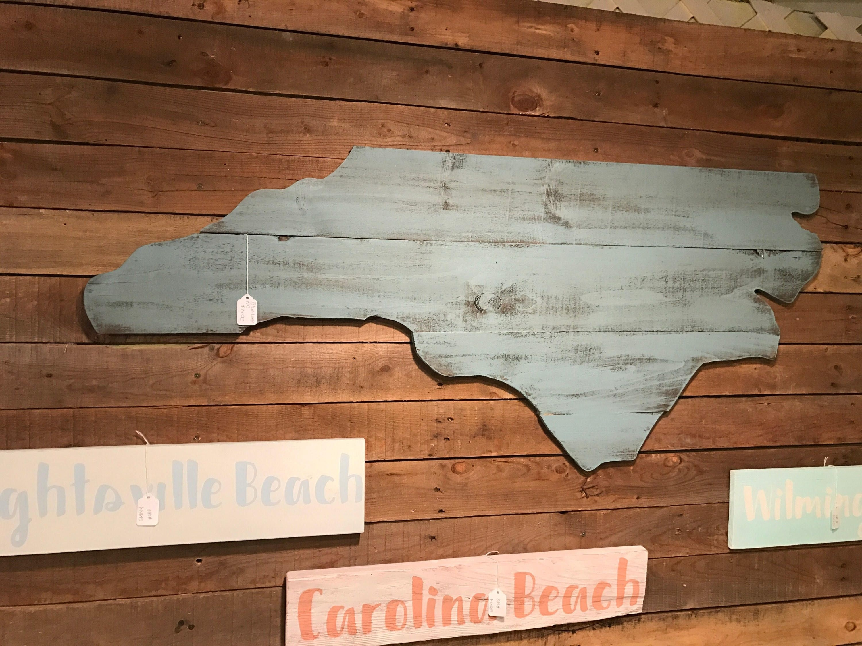 Large North Carolina Cutout Sign With Blue Beachy Distressed Look Nc Throughout Most Popular North Carolina Wall Art (View 6 of 20)