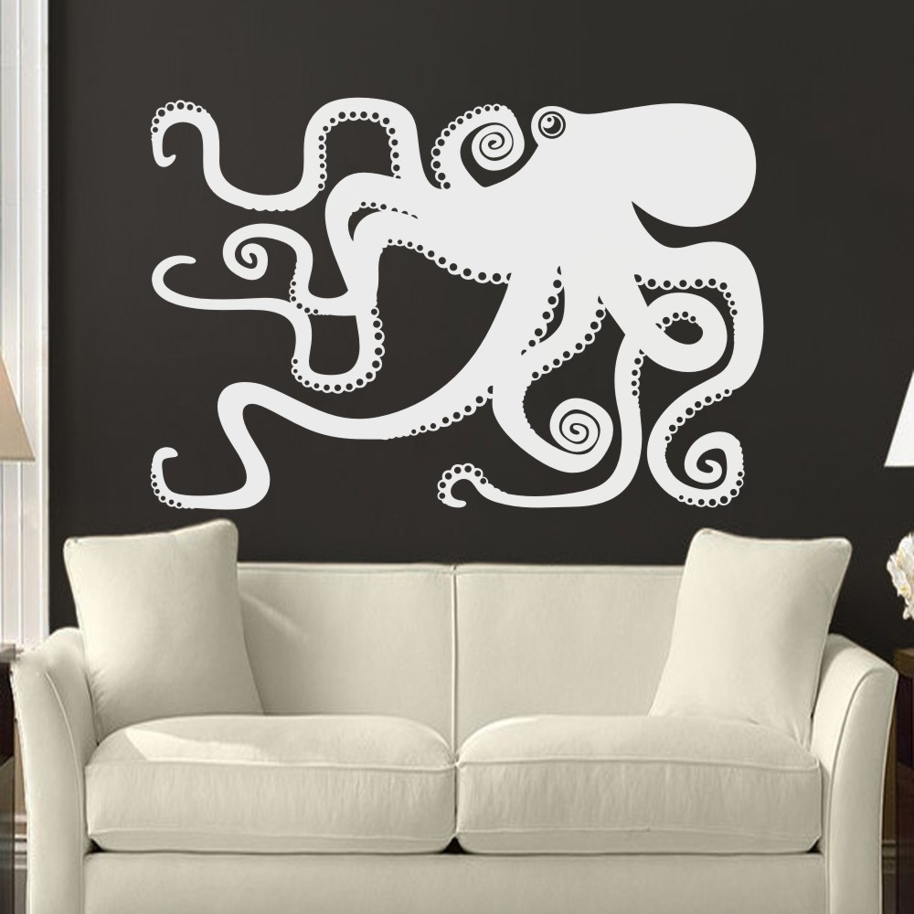 Large Octopus Decal Ocean Wall Decor Sea Octopus Wall Art Bathroom With Regard To Most Recent Octopus Wall Art (View 8 of 20)