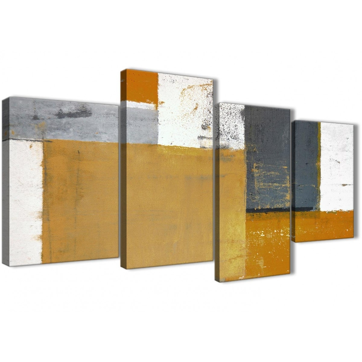 Large Orange Grey Abstract Painting Canvas Wall Art Print - Split 4 within 2017 Multi Piece Wall Art