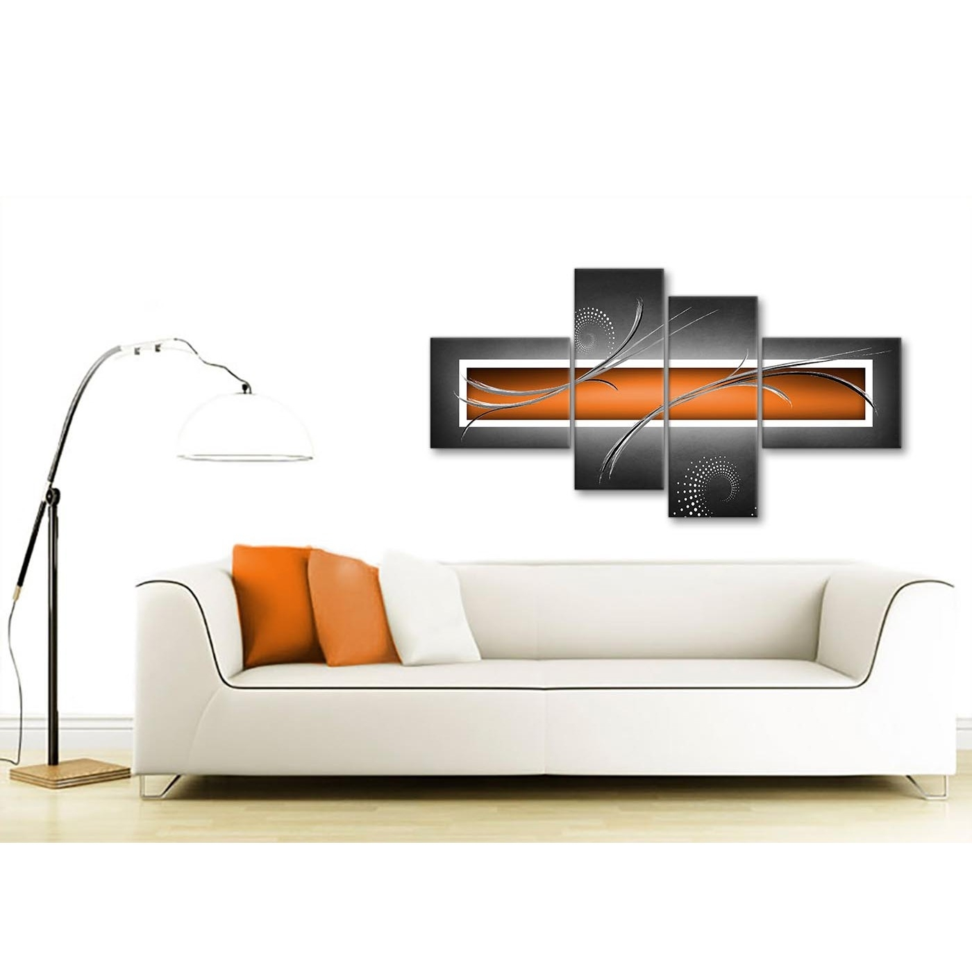 Large Orange Grey White Modern Abstract Canvas Wall Art – Split 4 With Regard To Newest Modern Large Canvas Wall Art (View 17 of 20)