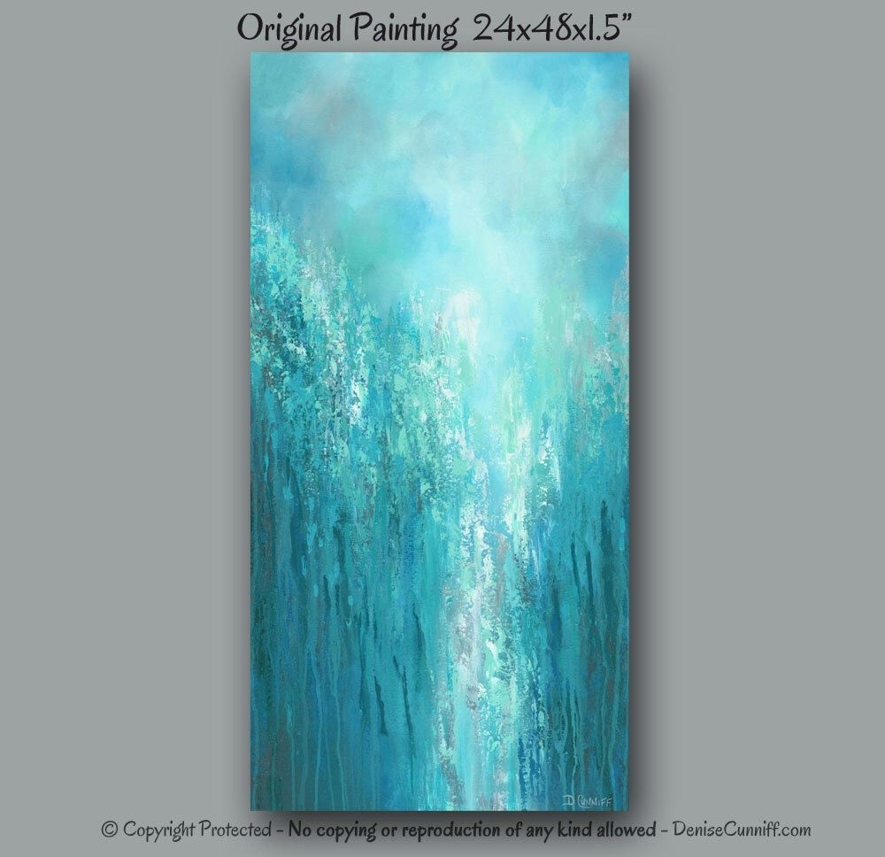 Large Original Wall Art, Gray Turquoise Teal Green & Blue, Tall For Most Recent Oversized Teal Canvas Wall Art (Gallery 6 of 20)