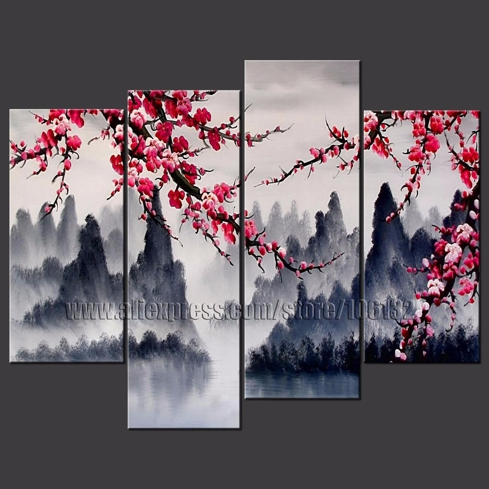 Large Painting Chinese Wall Art Framed 4 Panel Interior Decoration With Regard To Most Recent Chinese Wall Art (Gallery 1 of 20)