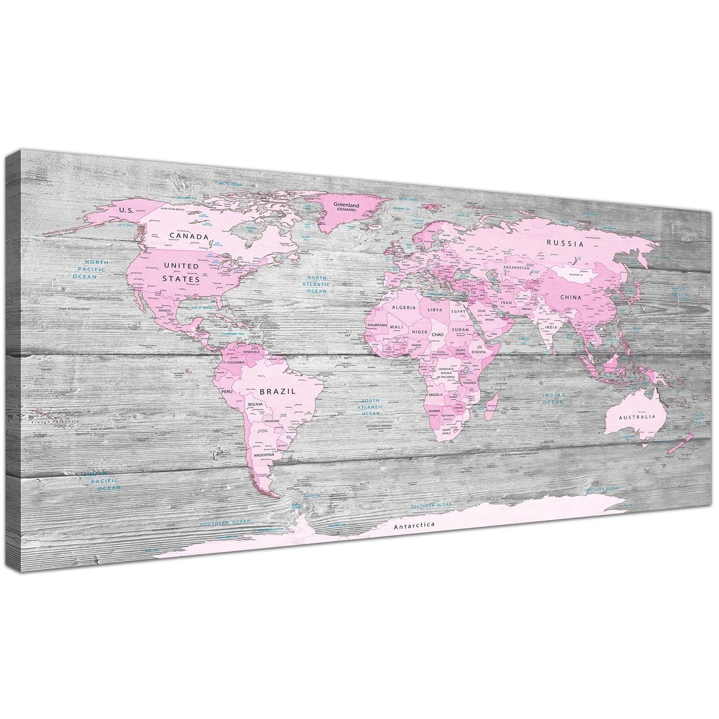 Large Pink Grey Map Of World Atlas Canvas Wall Art Print – Maps With Most Current Pink Wall Art (Gallery 1 of 20)