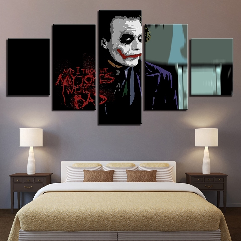 Large Poster Hd Printed Painting Canvas Home Decoration 5 Panel For Most Popular Joker Wall Art (View 14 of 20)