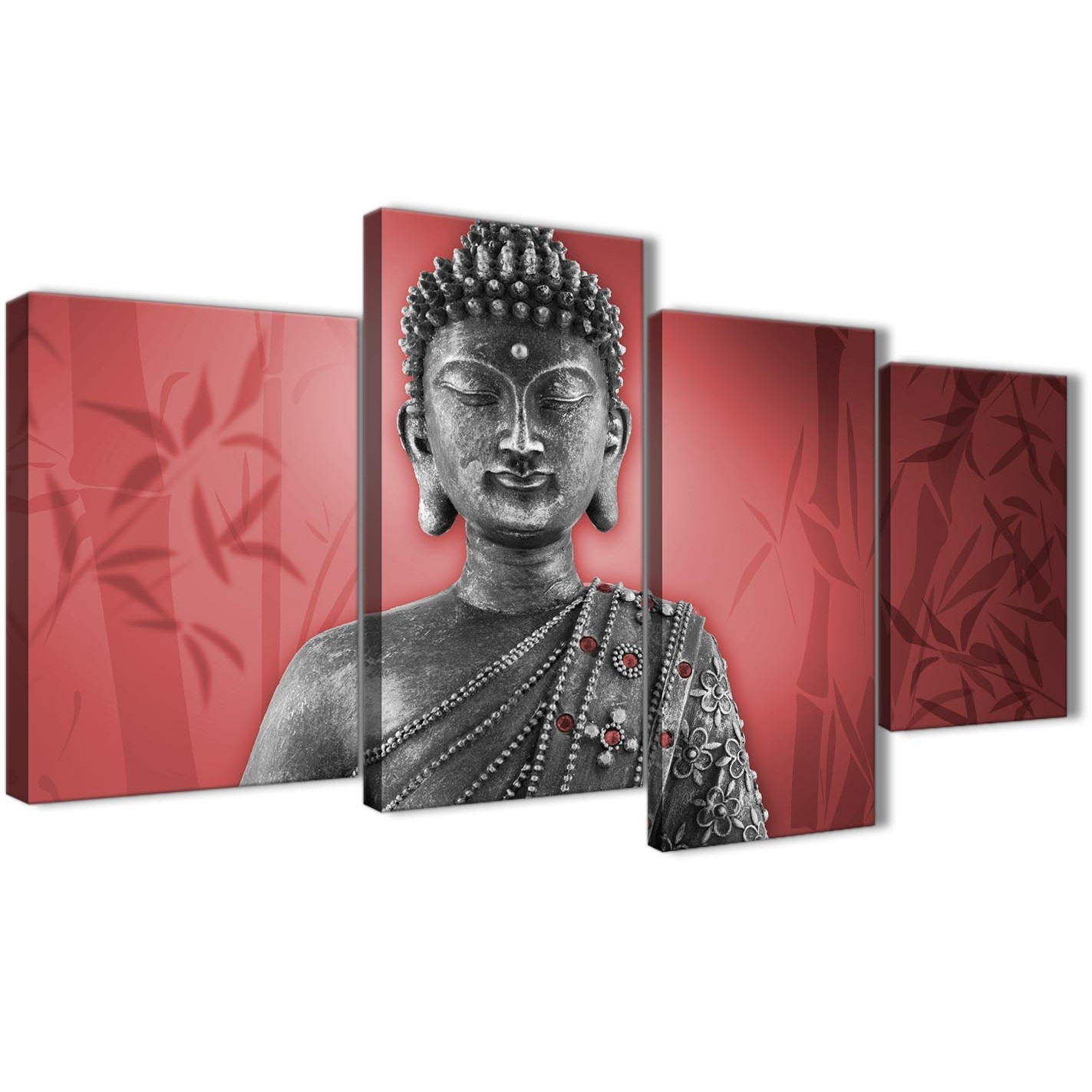 Large Red And Grey Silver Canvas Art Prints Of Buddha – Split 4 With Most Current Silver Wall Art (View 15 of 20)
