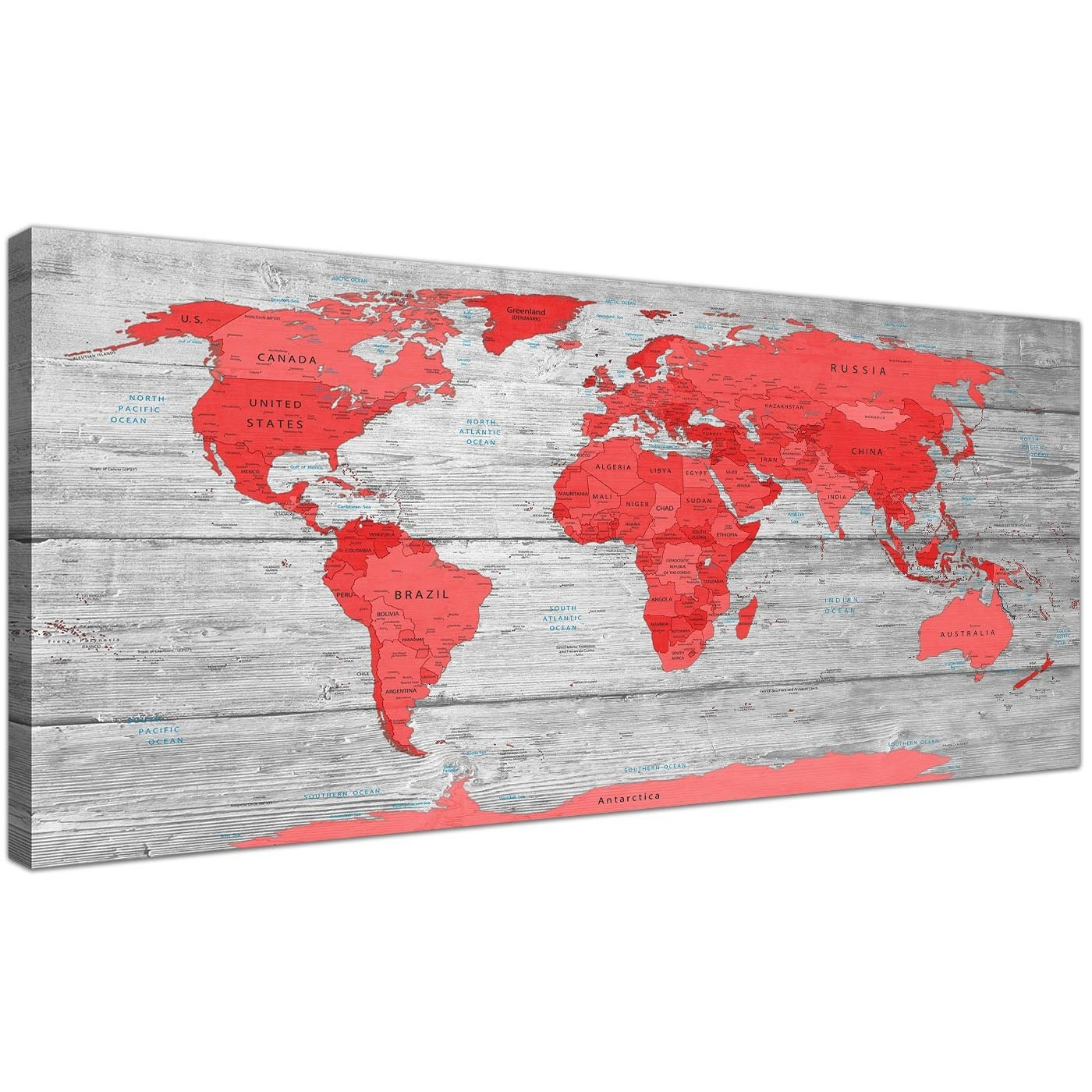 Large Red Grey Map Of The World Atlas Canvas Wall Art Print Modern throughout 2018 Red Wall Art