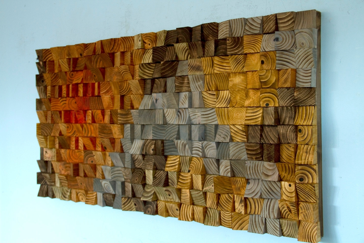 Large Rustic Art, Wood Wall Sculpture, Abstract Painting On Wood within Most Recently Released Large Rustic Wall Art