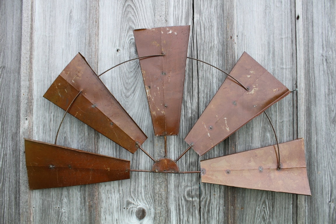 "Large Rustic Wall Decor New 28"" Rustic Metal Half Windmill Country Pertaining To 2018 Windmill Wall Art (View 10 of 20)"