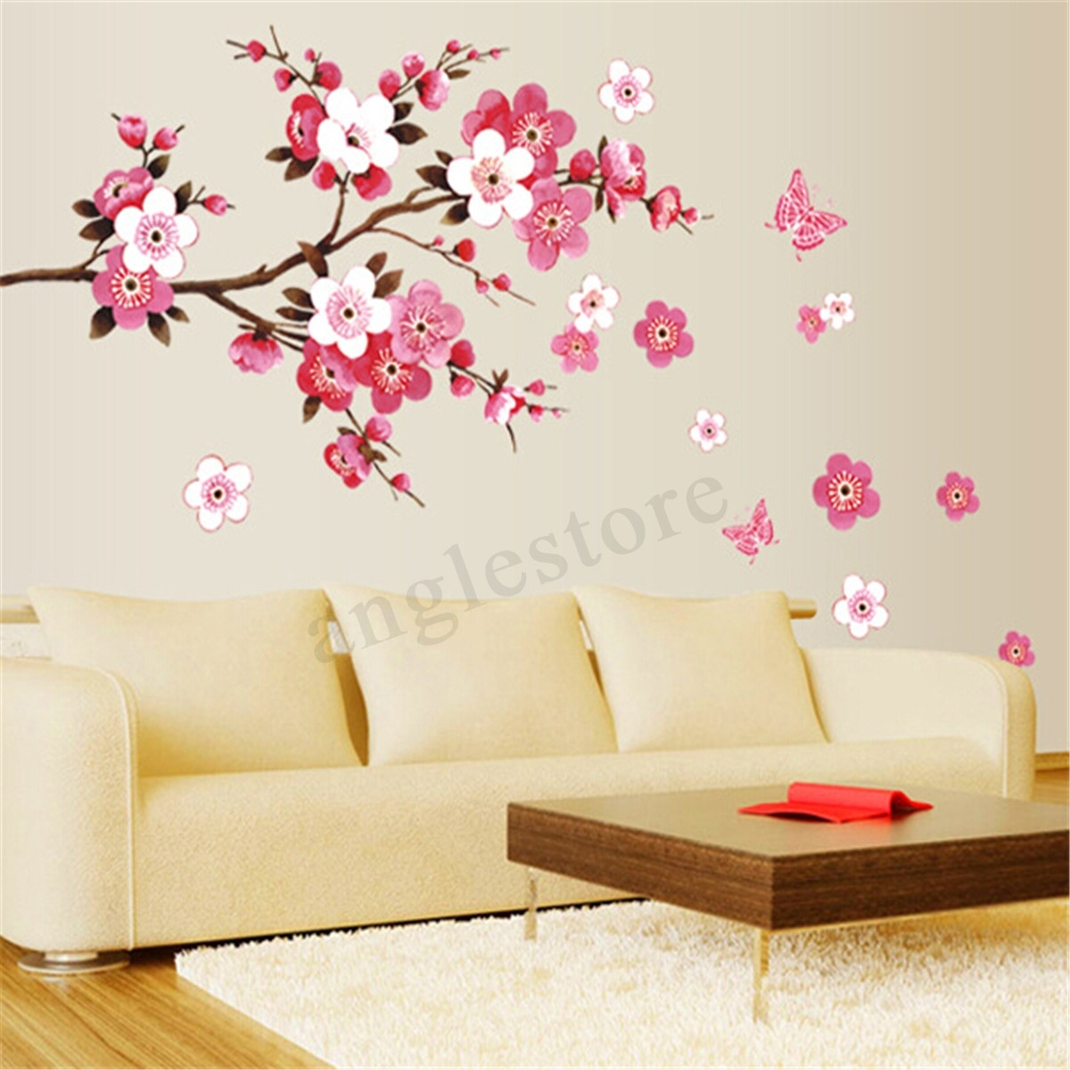 Large Sakura Flower Removable Wall Sticker Paper Mural Art Decal Intended For Most Up To Date Wall Sticker Art (Gallery 7 of 15)