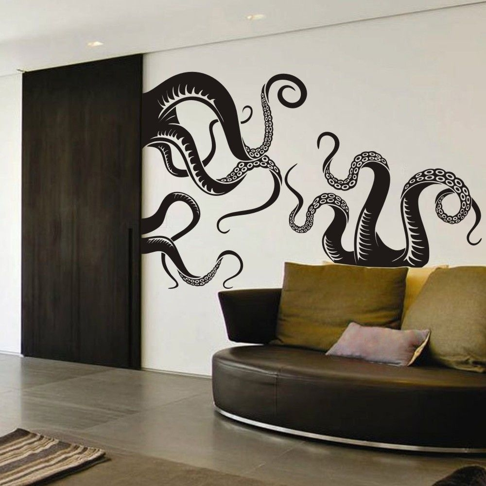 Large Size Octopus Tentacles Vinyl Wall Art Sea Monster Kraken Squid Intended For Latest Octopus Wall Art (View 1 of 20)