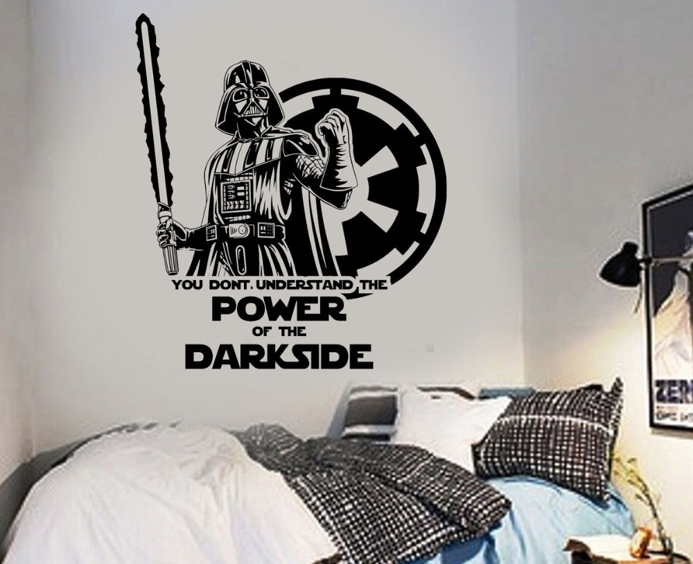 Large Star Wars Darth Vader Vinyl Wall Art Sticker Room Bedroom regarding Most Recently Released Darth Vader Wall Art