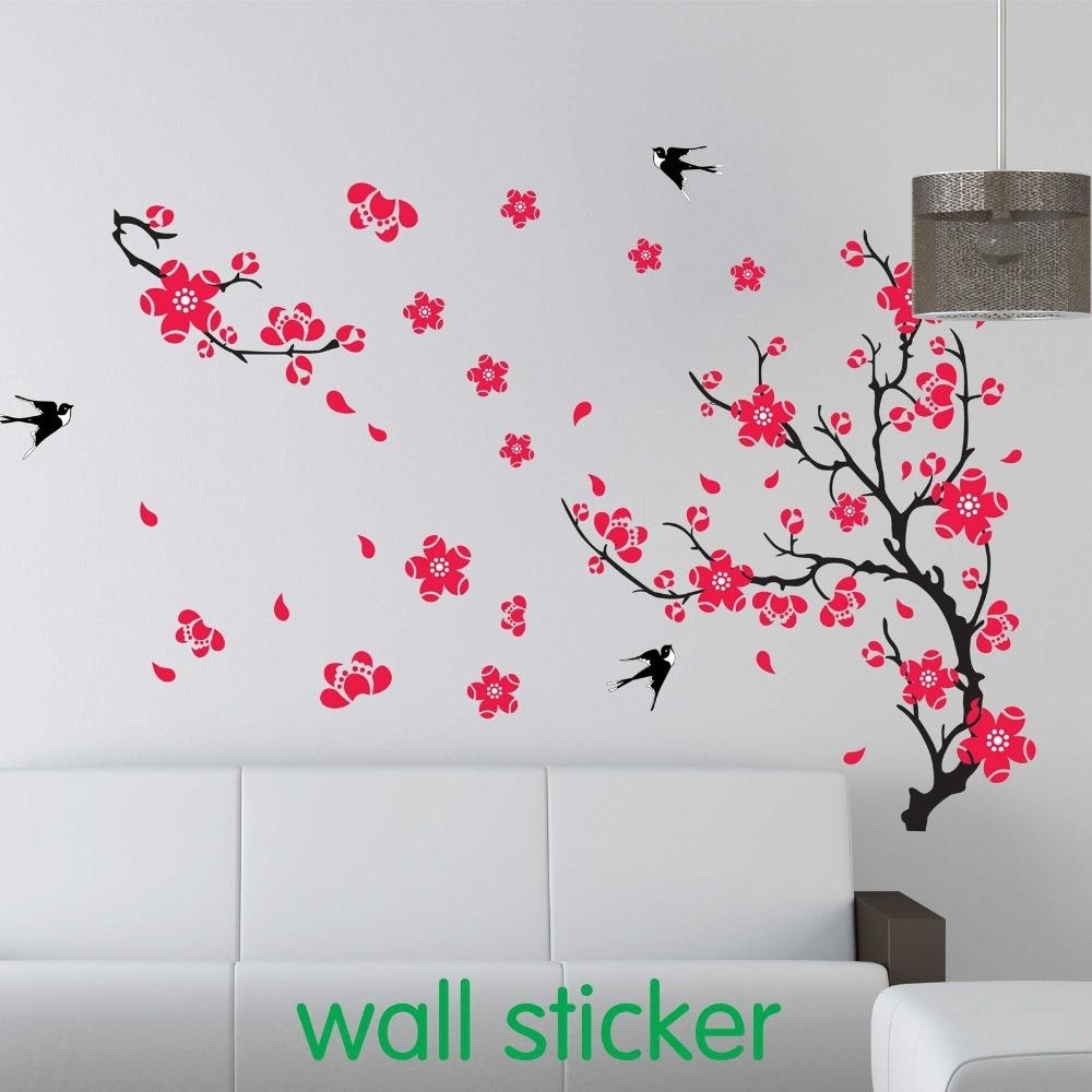 Large Swallow Plum Blossom Wall Sticker For Bed Room Decoration regarding Best and Newest Cherry Blossom Wall Art