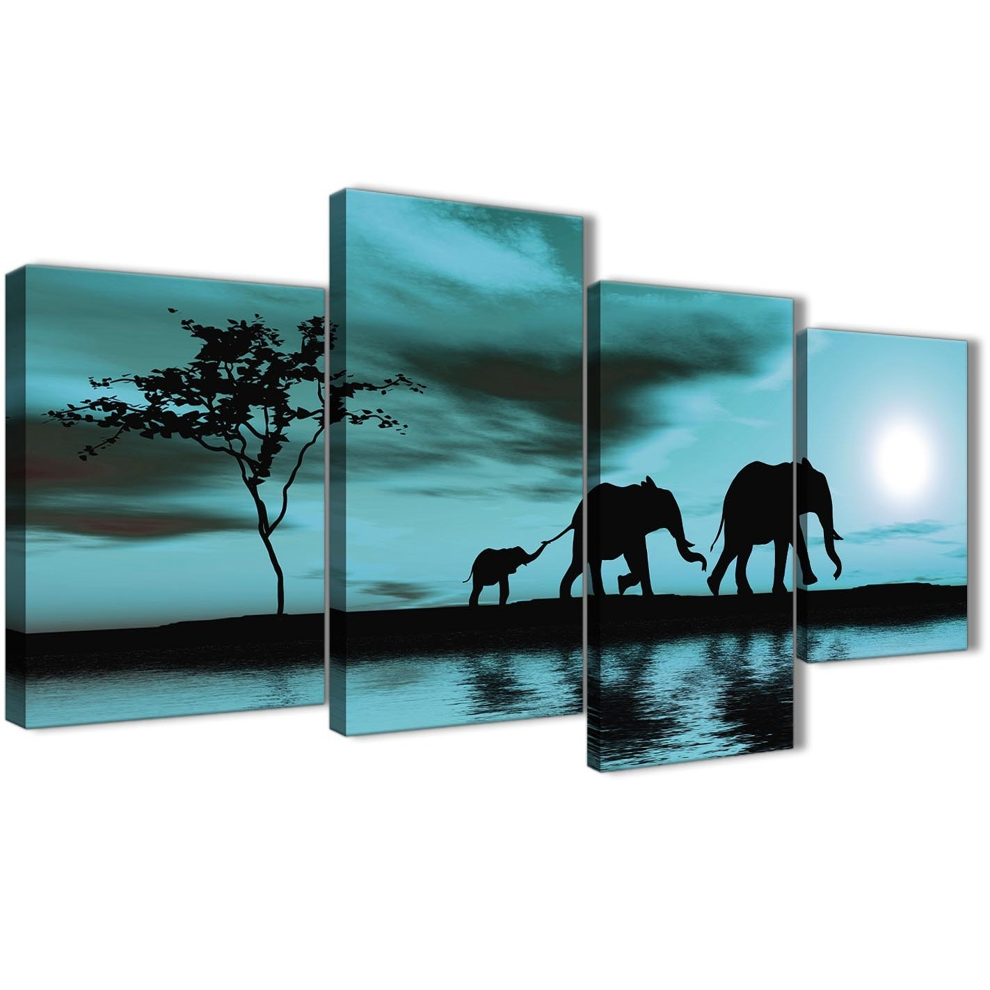 Large Teal African Sunset Elephants Canvas Wall Art Print – Multi 4 With Recent Oversized Teal Canvas Wall Art (View 12 of 20)