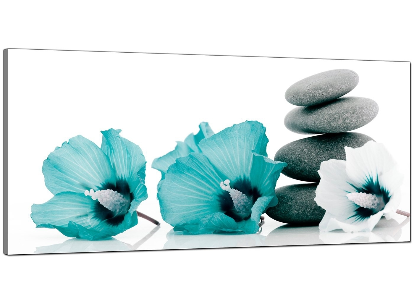 Large Teal And Grey Canvas Pictures Of Flowers And Pebbles Inside Most Recently Released Teal Wall Art (View 7 of 15)