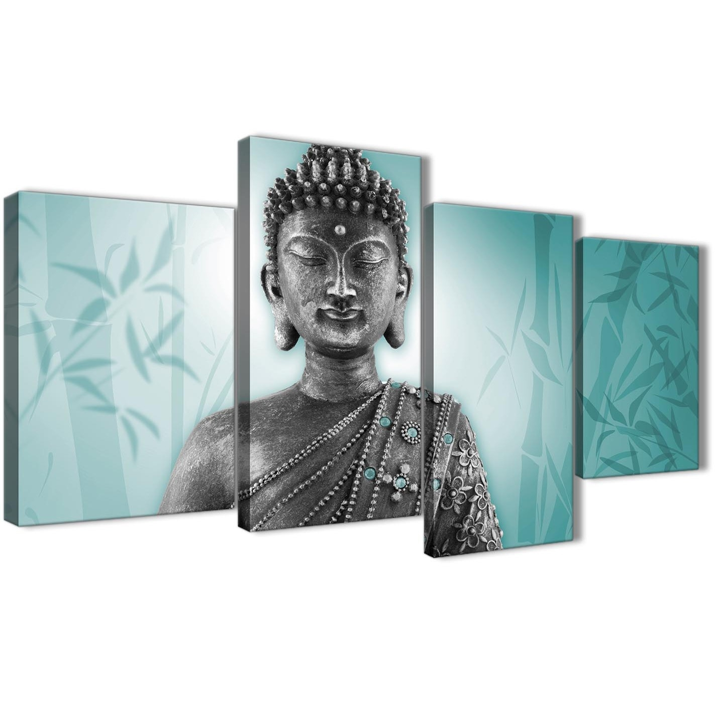 Large Teal And Grey Silver Canvas Art Prints Of Buddha – Split 4 Set Intended For Current Teal Wall Art (View 8 of 15)
