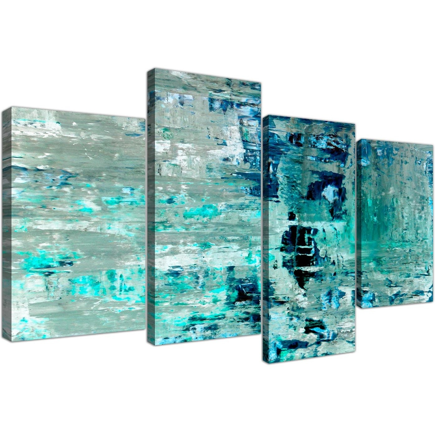 Large Turquoise Teal Abstract Painting Wall Art Print Canvas - Multi with regard to Newest Oversized Teal Canvas Wall Art
