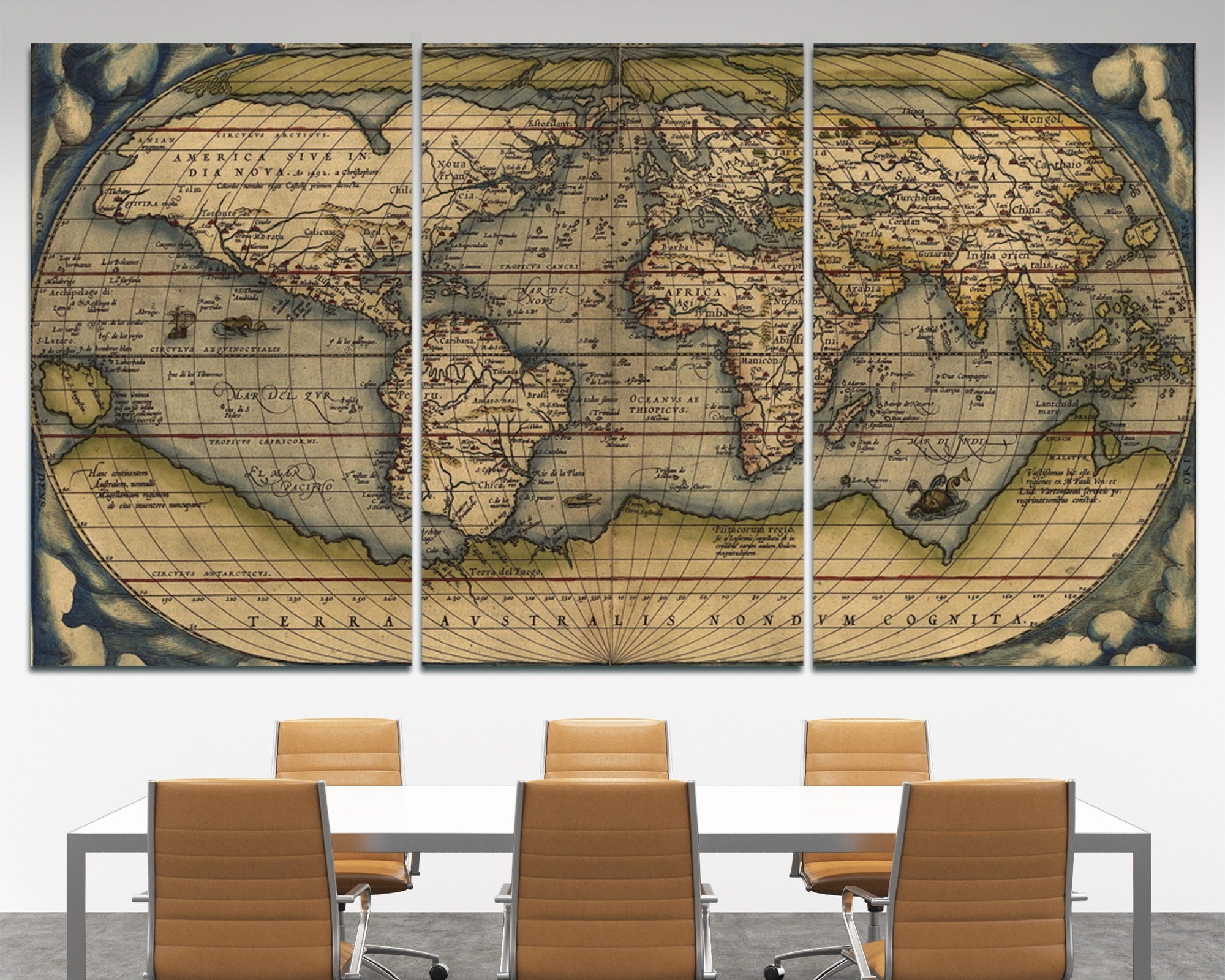Large Vintage Wall Art Old World Map At Texelprintart Within 2017 World Map For Wall Art (View 10 of 20)