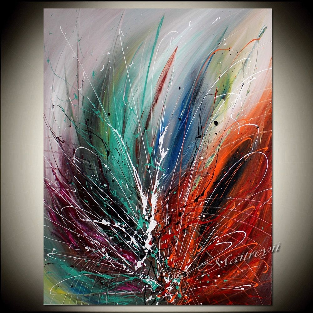 Large Wall Art Abstract Painting On Canvas, Red Modern Art For Sale In Recent Modern Abstract Painting Wall Art (View 10 of 20)