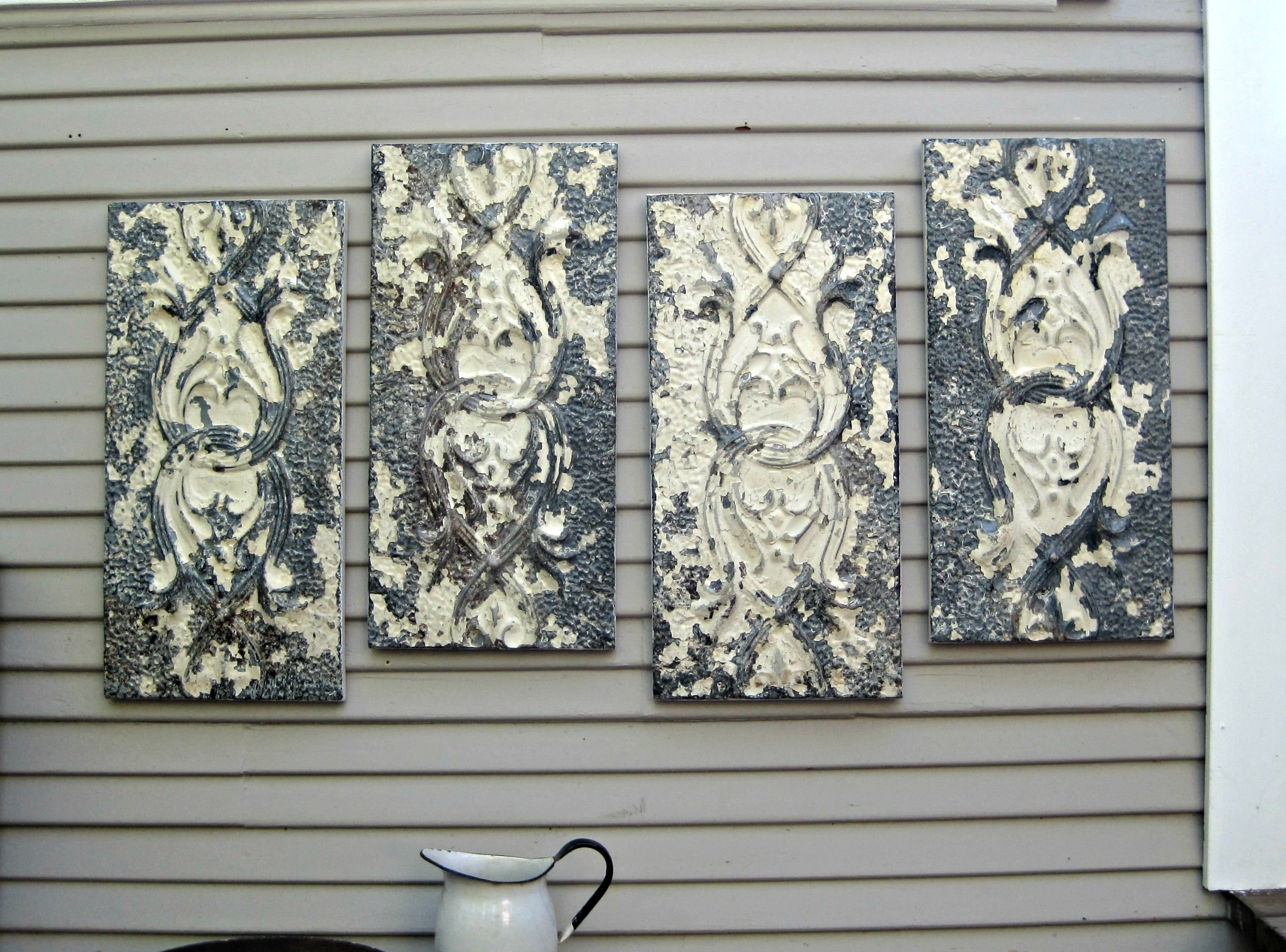 Large Wall Art, Antique Ceiling Tin Tiles, Distressed Vintage Decor for Most Recently Released Tin Wall Art