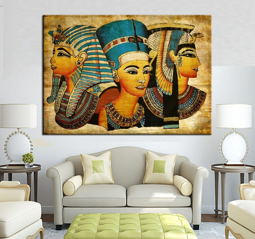 Large Wall Art Canvas Pharaoh Of Egyptian Home Decoration Paintings With Regard To Recent Large Canvas Painting Wall Art (Gallery 4 of 20)