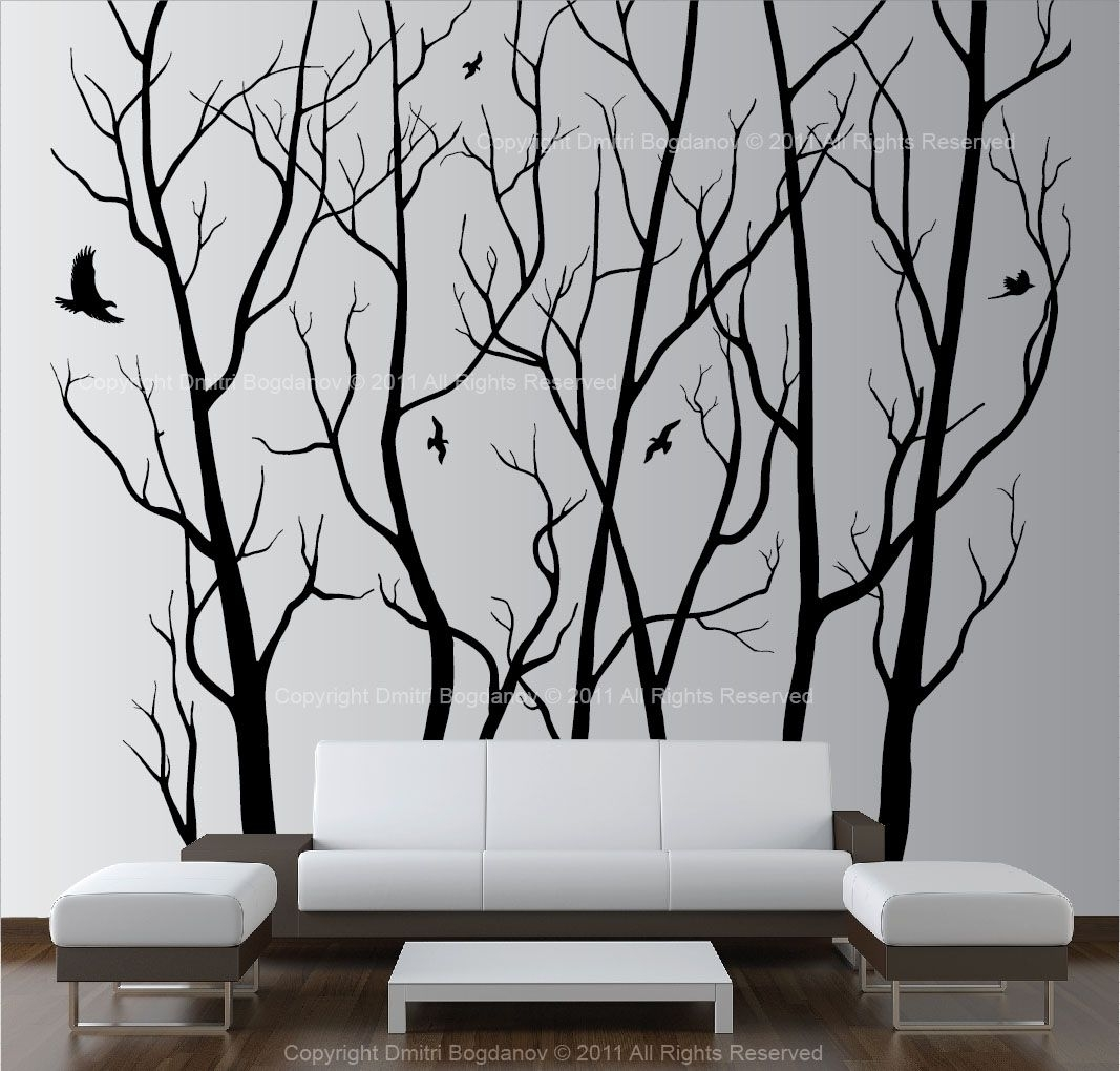 Large Wall Art Decor Vinyl Tree Forest Decal Sticker (Choose Size With 2017 Vinyl Wall Art (Gallery 6 of 15)