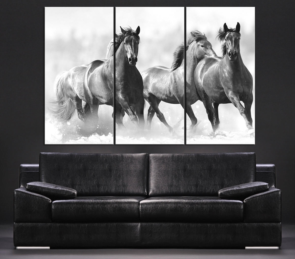 Large Wall Art Running Wild Horses Canvas From Mycanvasprint In Current Horses Wall Art (View 10 of 20)