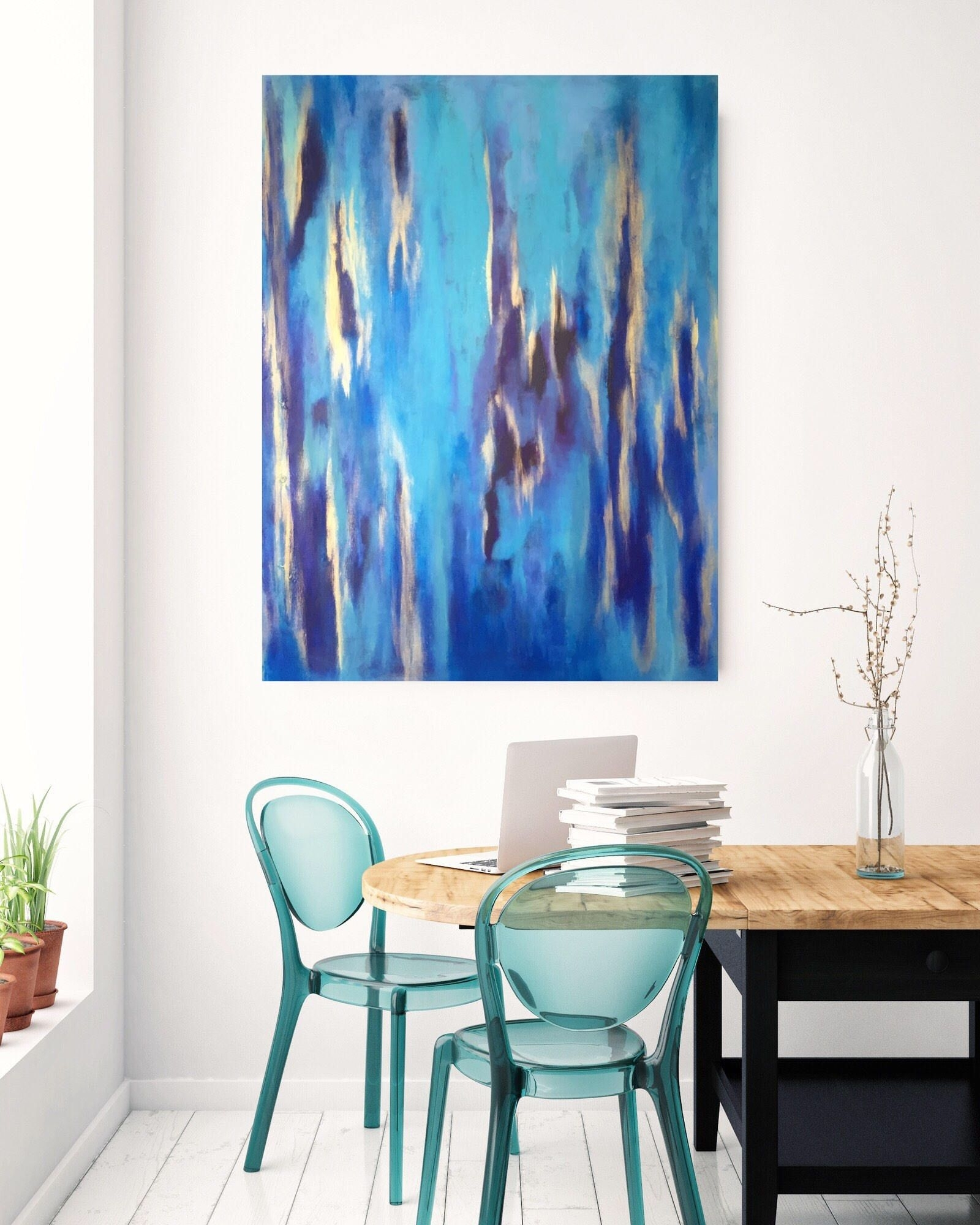 Large Wall Art,acrylic Blue Painting, Abstract Art Gold, Coastal For Most Recent Large Coastal Wall Art (View 18 of 20)