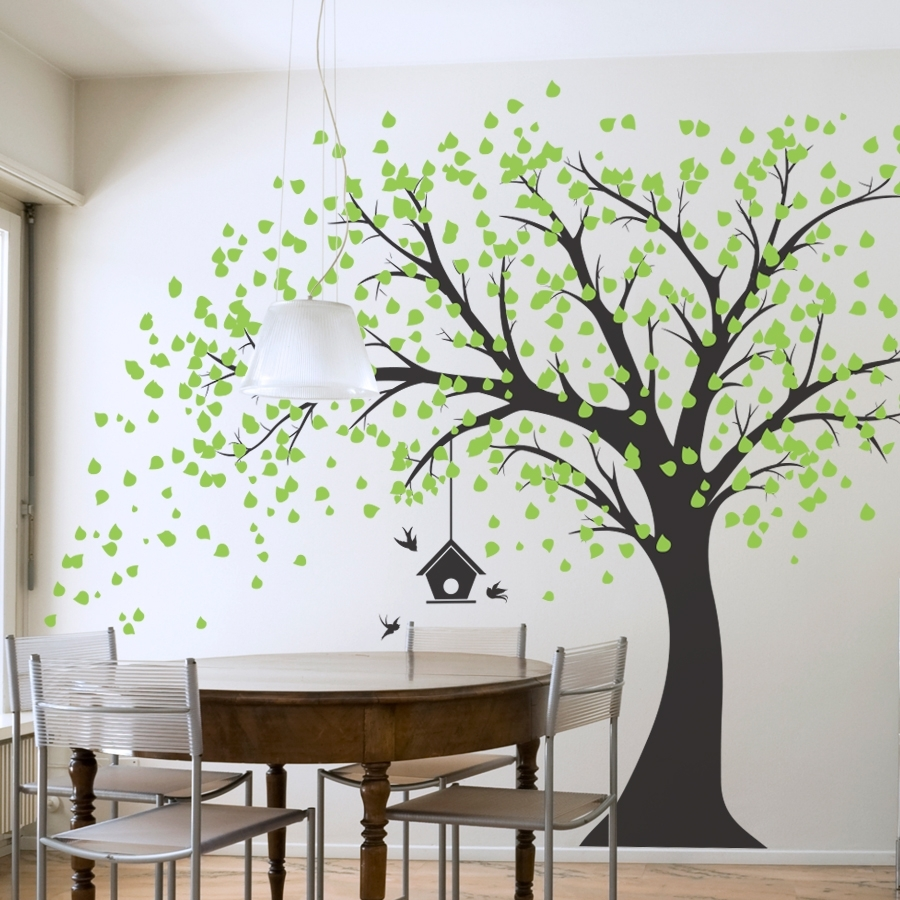 Large Windy Tree With Birdhouse Wall Decal – Gabc Inside Newest Tree Wall Art (View 8 of 15)